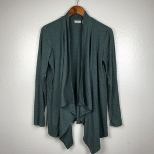 LOGO Lounge Ribbed Drape Front Cardigan in Green
